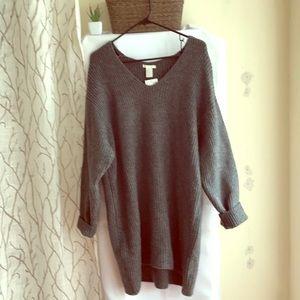 H&M Grey Oversized V neck Wool Sweater Women S New
